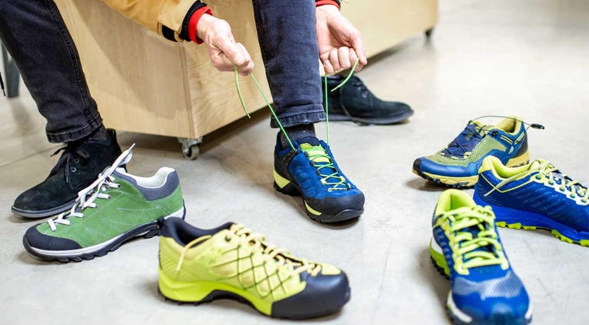 Man choosing athletic shoes