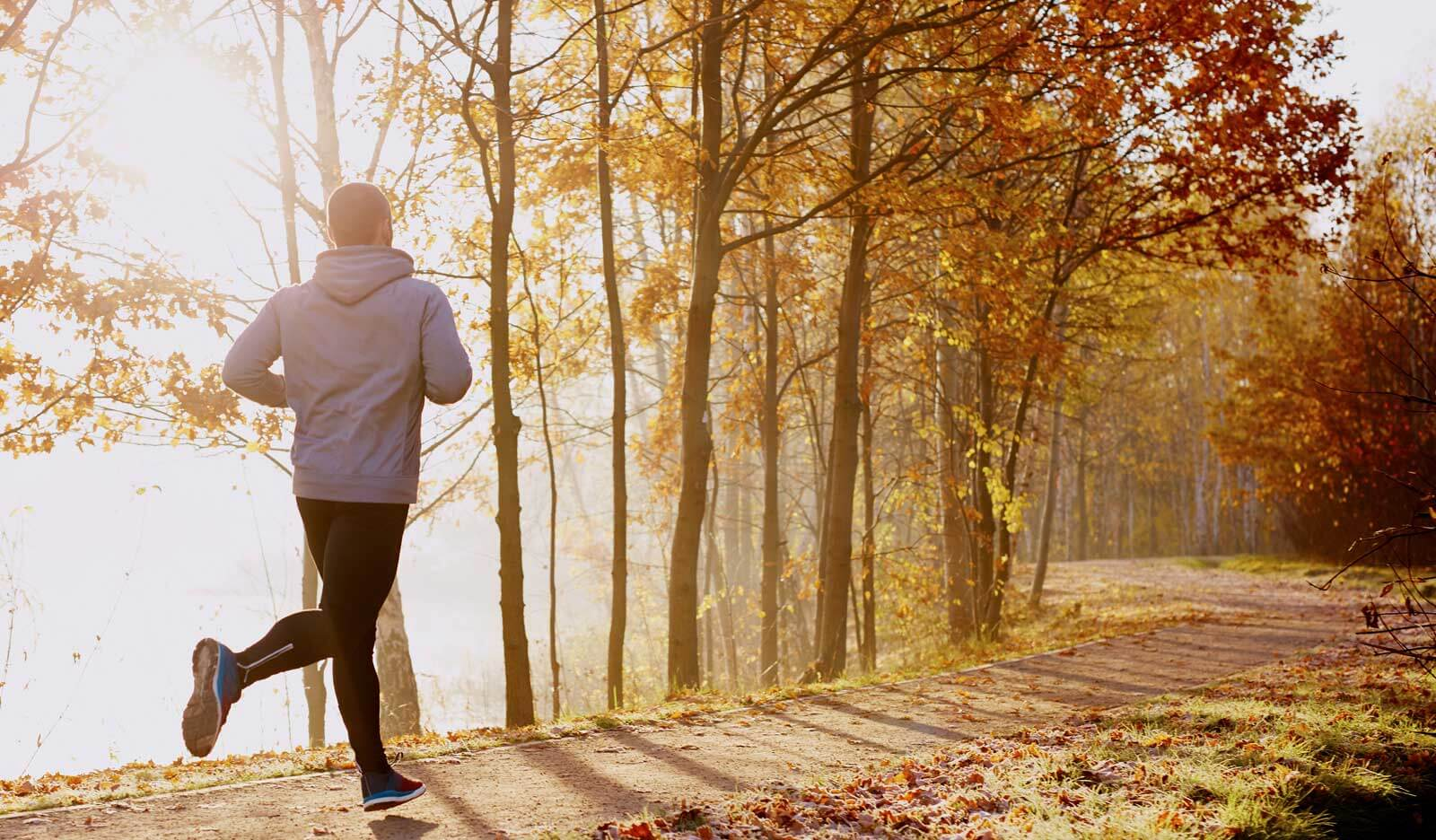 ex-smoker runs with ease after his circulation and lung capacity has improved after stopping smoking